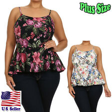 Plus Size Blouse Floral Print Spaghetti Strap Fit and Flare Tops T50057-6-7P_TR