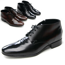Mens plain toe black brown leather increasing height hidden insole ankle boots