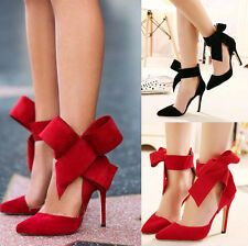 Sexy women Big bow pointed Toe strap high thin heels Bridal Party Evening Shoes