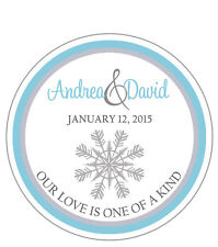 Winter Snow - Round Custom Favor Stickers/Labels - Wedding/Shower Personalized