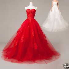 New White/Ivory Red A-Line Tulle Lace applique Wedding Dress Bridal gown Custom