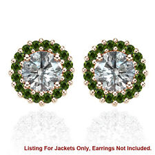Halo Jackets for 2 Ct Total Weight 6MM Green Diamond Stud Earrings 14K Rose Gold