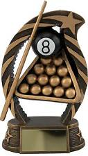 Snooker Trophies Resin Pool 8 Ball Cue Triangle Award 3 Sizes FREE Engraving