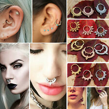 Simple Crescent Tribal Ethnic Indian Bead Septum Nose Hoop Clip Ring 16G (1.2mm)