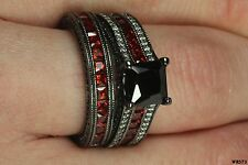 Black Red White Gothic Rhodium Plated Sterling Silver Engagement & Wedding Rings
