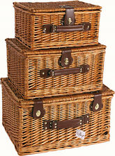 STRONG BROWN OAK WICKER PICNIC GIFT STORAGE XMAS CHRISTMAS EMPTY HAMPER BASKET