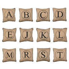 "Monogram Burlap Pillow with Black Piping, 12"" x 12"", Choose Your Letter!"