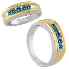 1 Carat Blue Fancy Diamond Channel Mens Ring 14K White Yellow Two Tone Gold