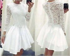 Sexy Womens White Mini Lace Prom Ball Cocktial Party Evening Short Dress