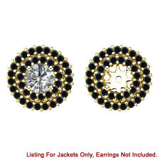 Black Diamond Double Halo Solitaire Stud Bridal Earrings Jackets 14K Yellow Gold