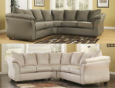 NEW ASHLEY DARCY SIGNATURE FABRIC UPHOLSTERED SECTIONAL SOFA IN SAGE OR STONE