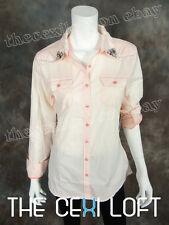 NEW Womens ROAR Button-Up Shirt IN REVERSE in Light Pink Style WW50510