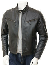Mens New Leather Motorcycle Jacket Biker Lambskin Zipper Coat All Size Color A15