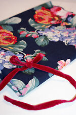 """Navy Blue Floral 100% Cotton Lawn Fabric Vintage Liberty Style Material 60"""""""