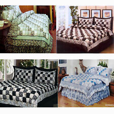 4 PCE Patchwork PUFF COMFORTER Set + Valance - DOUBLE or QUEEN or KING