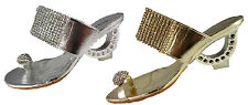 WOMENS DIAMONTE EVENING WEDDING MULE SANDALS LOW HEEL SILVER GOLD BLING SHOES