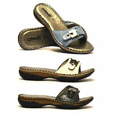 Ladies Womens New Full Leather Soft Flat Slip On Casual Mules Sandals Shoes Size