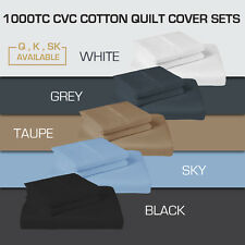 QUEEN/KING/SUPER KING 1000TC CVC COTTON QUILT COVER+PILLOWCASE SET(Multi Color)