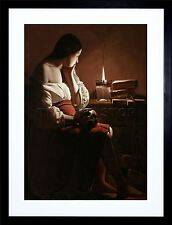 GEORGES DE LA TOUR MAGDALEN WITH SMOKING FLAME OLD PAINTING PRINT FRAME F12X369