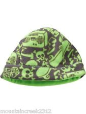 GAP Kids Boys ~ SKULL Print Fleece Beanie Hat ~ Green ~ S/M ~ NEW with tags
