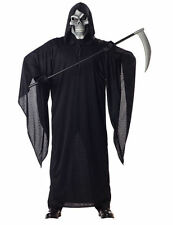 Mens Grim Reaper Death Robe w Mask Horror Halloween Fancy Dress Costume