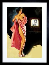 PAINTING LADY UNDRESSED PIN UP VINTAGE TV NEW ART PRINT FRAME MOUNT F12X690