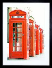 PHOTO TELEPHONE BOX KIOSK RED OLD STYLE BRITISH LONDON UK PRINT FRAME F12X855