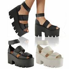 WOMENS LADIES CHUNKY SUMMER WEDGE ANKLE STRAP PLATFORM VELCRO SANDALS SHOES SIZE