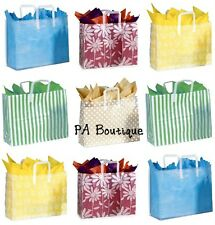 *U CHOOSE* 16x12x6 Large Clear Frosted Plastic Tote Retail Wedding GIFT BAGS