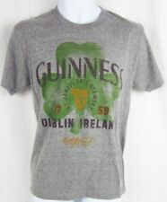 Mens NWT Guiness Dublin Ireland Beer Heather Gray Shamrock Logo Graphic T-Shirt