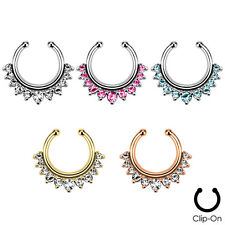 Faux Non-Piercing Gemmed Rim SEPTUM Nose Clip-On Hanger RINGS Studs Body Jewelry