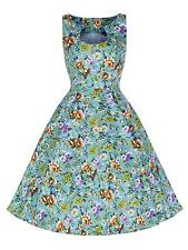 Classic 1950's Vintage Style Turquoise Floral Party Prom Tea Dress New 8 - 18