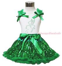 Rhinestone Tinkerbell White Top Shirt Girl Bling Green Sequin Pettiskirt 1-8Year