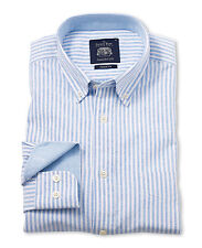 Savile Row Men's Blue White Brushed Stripe Oxford Casual Fit Shirt