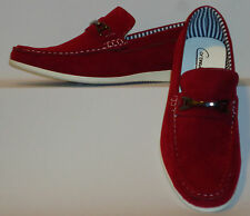 Mens Cool Casual Dress Loafers, Boat Shoes Stand Out Red w/ White Sole Cody2-Red