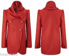 FRENCH CONNECTION DARK RED WOOL BLEND FLUTED COAT  NEW