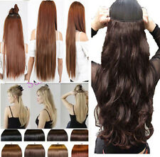 UK Lady One Piece 3/4 Full Head Clip In Hair Extensions Curly Wavy Straight Hair