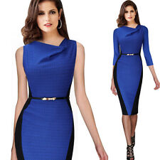 Womens Elegant Draped Neck Optical Illusion Tunic Wear To Work Pencil Dress 348
