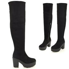 WOMENS OVER THE KNEE THIGH HIGH CHUNKY PLATFORM HEEL STRETCH BLACK BOOTS 3-8