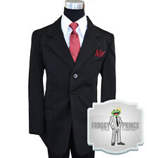 Boys Kids Formal Black Pinstripe Three Button Suit w/ Tie Vest Shirt and Pants
