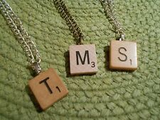 Scrabble Tile Monogram Necklace Pendant OR Charm Bracelet -ALL letters available