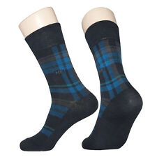 "5 Pairs Lot Mens Navy Check Dress Socks ""Skin contact surface is 100% cotton"""