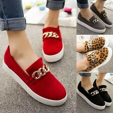 Womens Metal Chain Leopard Printed Slip On Loafers Thick Sole Flats New Shoes