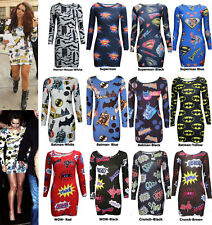Women Ladies Long Sleeve Batman Superman Kapow Print Bodycon Tunic Dress SZ 8-22