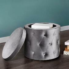 Round Storage Ottoman with Buttons Velour Fabric Upholstery Seat Furniture NEW