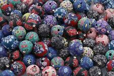 Flower Round BEAD 30PC Mixed Color Polymer Clay Crystal Loose Charms Beads ,12mm