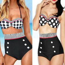 FASHION CUTEST RETRO SWIMSUIT SWIMWEAR VINTAGE PIN UP HIGH WAIST BIKINI SET C72