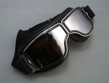 Aviator Pilot Cruiser Steampunk ATV Bike Motorcycle Goggle Eyewear Black Frame D