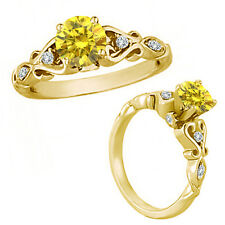 1 Carat Yellow Diamond Solitaire Engagement Wedding Bridal Ring 14K Yellow Gold