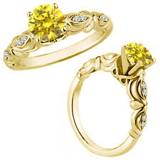 0.25 Carat Yellow Diamond Fancy Solitaire Engagement Bridal Ring 14K Yellow Gold